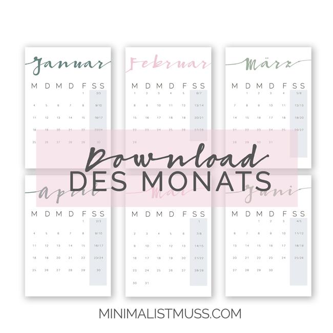 kostenloser, minimalistischer Wandkalender für 2016 zum ausdrucken von MINIMAL IST MUSS